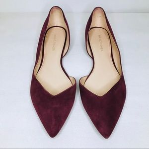 MARC FISHER AMRA PLUM SUEDE D'ORSAY POINTED FLAT